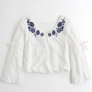 Hollister embroidered floral blouse